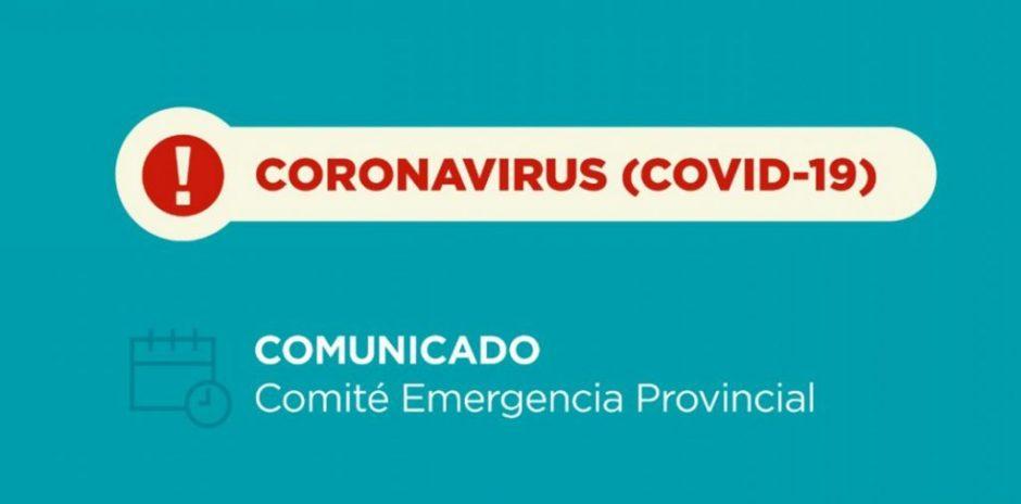 Coronavirus: nuevo comunicado del Comité de Emergencia Provincial. 14/02/2021 – 13:00