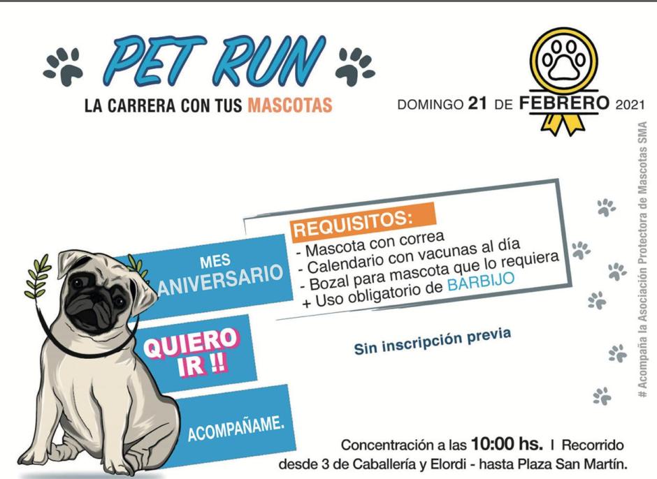 """Este domingo se realizará una nueva edición de la """"Pet Run"""" de San Martín de los Andes"""
