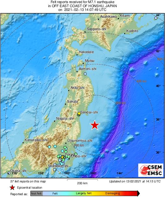 Se produjo un sismo de magnitud 7,1 ante la costa este de Japón