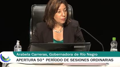 Arabela Carreras abrió el período Ordinario legislativo 2021 en Río Negro.