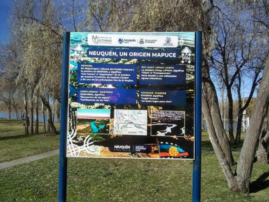 Instalan cartelería señalética en idioma Mapuche en el Paseo de la Costa