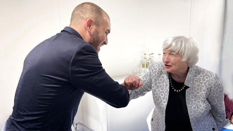 Martín Guzmán se reunió en Venecia con la secretaria del Tesoro de Estados Unidos, Janet Yellen